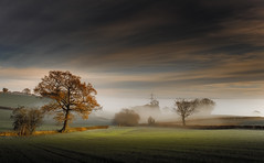 Misty morning (Eric Goncalves) Tags: morning november autumn trees light england sky mist color tree green nature beautiful clouds rural canon landscape golden landscapes countryside glow view peaceful gloucestershire fields autumnal treescape canonef2470mmf4lisusm canon6d ericgoncalves