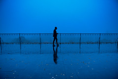 Blue hour reflection (5ERG10) Tags: trip morning autumn abstract reflection wet silhouette dawn mirror early october europe tallinn estonia pavement weekend panoramic baltic symmetry minimal walker bluehour railing viewpoint jogger 2014 toompea 5erg10 sergioamiti