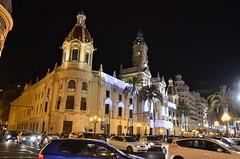 Ayuntamiento (City hall) in Valencia, Spain (Mikhail Zhidko) Tags: christmas city travel summer vacation valencia night square hall spain nikon downtown mediterranean central spanish nikkor valncia iberian  hiszpania  d5100