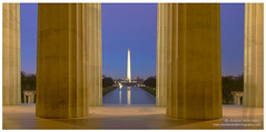 Washington Twilight (Anna Wrobel) Tags: longexposure architecture sunrise washingtondc columns lincolnmemorial monuments washingtonmonument nationaltreasures districtofcolumia