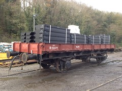 Plate wagon loaded with level crossing panels 11Nov14