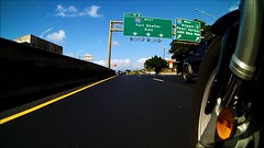 Exit Left (Ralph Toyama) Tags: camera sign hawaii video highway oahu action pov pointofview freeway motorcycle interstate exit h1 intova h201