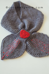 Grey Tie Scarf with Red Heart (Crochet Genie) Tags: winter red scarf grey warm heart handmade knit tie wrap knitted crochetgenie tiescarf crochetgeniecom