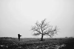 (emmakatka) Tags: winter sky blackandwhite woman selfportrait snow cold field grass silhouette dark person alone wind body northdakota prairie emmakatka