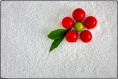 IMG_4977/a (*melkor*) Tags: light red white snow macro green art fruits geotagged salt experiment newyear minimal greetings conceptual leafs fakesnow lightbox genuine 2015 melkor trashbit smallfruits thegenuineone genuinecolors