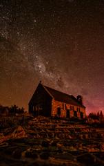 The Good Shepherd...of the Aurora (Kristin Repsher) Tags: newzealand church nikon df nz southisland laketekapo churchofthegoodshepherd tekapo milkyway southernlights auroraaustralis unescodarkskyreserve