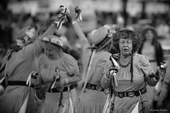 Morris Dancers (Jemma Graham) Tags: street blackandwhite bw bells town costume yorkshire traditional hats entertainment whitby morris performers morrisdancers entertainers