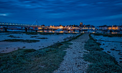Shoreham Blue Hour III (Dave Sexton) Tags: uk longexposure bridge england west church reflections river boats lights sussex mud pentax unitedkingdom path gb bluehour f28 cracked shoreham shorehambysea k1 twighlight 2470