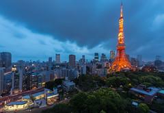 Tokyo Tower at night (morozgrafix) Tags: city tower japan skyline architecture night clouds tokyo dusk jp tokyotower minatoku minato tkyto 2fb