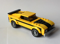 Ford Mustang Mach 1 (hachiroku24) Tags: ford car yellow speed toy lego creation 70s vehicle mustang champions mach moc