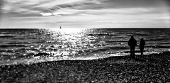 If only .... (Howard Sandford) Tags: sunset sea people blackandwhite bw beach yacht sailingboat monocrhome helios442