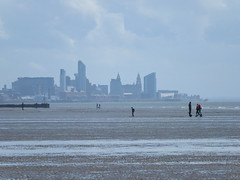 Liverpool from Crosby beach (SierPinskiA) Tags: liverpool anthonygormley anotherplace crosbybeach blundellsands fujixs1