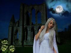 Lady of the Night (Dama de Noche) (ihave3kids) Tags: flowers woman moon abbey lady night photomanipulation photoshop ruins digitalart wikipedia deviantart jazmine evenig photoshopcontest photoshopcompetition damadenoche