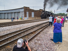 the arrival (contemplative imaging) Tags: trip railroad people usa june wisconsin digital yard america train lumix photography photo spring cool midwest day sunday transport tracks engine photojournalism railway trains olympus steam story varsity american transportation editorial historical locomotive berkshire wi excursion railroads 43 preservation janesville trackside partlycloudy roundhouse 3x4 2016 midwestern wisc nickelplate wsor wisconsinsouthern 284 765 railfans ep5 rockcounty contemplativeimaging ronzack lum1232 lumg1232 20160611 cirail20160611ep5