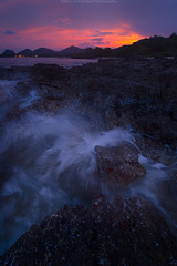 Seascape (Jirawatfoto) Tags: ocean travel blue sunset red sea summer vacation sky seascape abstract color reflection beach nature water beautiful beauty rock stone clouds sunrise landscape thailand evening colorful purple background wave scene