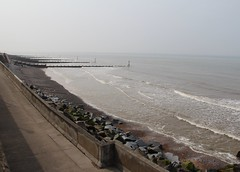 Sheringham Beach (Stuart Axe) Tags: norfolk england uk unitedkingdom gb greatbritain sheringham beach northsea grim grey miserable sky breakwater longshoredrift