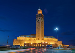 Sultan Hassan II Mosque at Blue Hour, Casablanca, Morocco (Abhi_arch2001) Tags: blue architecture worship king grand mosque morocco ii hour casablanca sultan hassan moroccan islamic mega