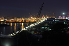 never sleeps (Rasande Tyskar) Tags: city never night port reflections river germany lights shot nacht harbour hamburg terminal hafen sleeps elbe containers lichter dockyards reflektionen