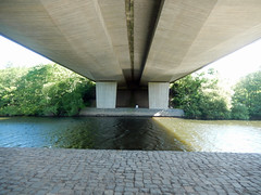 Under the A55, 2016 May 31 (Dunnock_D) Tags: road uk bridge trees shadow england river unitedkingdom britain under shade underneath dee overhead a55 marchesway northwalesexpressway