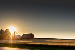 The Sunset over a Barn (mraarondouglas) Tags: sun sunset country barn red field farm sky colors bright grass wheat corn trees open road lines yellow orange color pink colorful tree canon rebel t5 1200d canon1585 image photography photo photograph peaceful peace calm evening afternoon night nighttime racine wi wisconsin illinois chicago milwaukee raymond yorkville sturtevant franksville caledonia mt pleasant