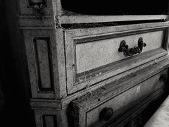 Cobwebs and Cabinets (curtissampson) Tags: old urban bw house dusty abandoned home dark photography alone florida furniture spiders web north explore forgotten grayscale exploration cobwebs webs cabinets urbex urbexing