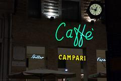 Urbino (MaximeF) Tags: night italy italia urbino cafe neon campari bitter clock apero