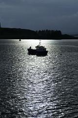 Rayons de soleil sur la baie d'Oban, photographiés depuis notre appartement