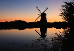 Not saying goodnight.  Just saying. (alideniese) Tags: sunset sky reflection water windmill silhouette landscape evening canal dusk thenetherlands kinderdijk molen waterscape southholland