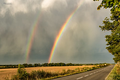 Arc-en-ciel - Rainbow (cleostan) Tags: arcenciel rainbow creuse france vert nikon green jaune orage storm route
