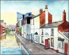 Canalside, Brindleyplace (Dr Graham Beards) Tags: birmingham brindleyplace canal canals broadstreet townscape watercolor watercolour