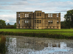 New Bield (Ian M Bentley) Tags: lyvedennewbield lyveden northamptonshire october nationaltrust unfinished incomplete roofless england olympus omd em5ii zuiko40150mm gradeilisted building enigmatic eastnorthampton elizabethan 1605 tresham outdoor sky cloud moat water reflection
