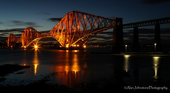 Forth Rail Bridge (ajp~) Tags: forthrailbridge southqueensferry edinburgh scotland bridge crossing railway landmark panorama longexposure water sea firthofforth sky clouds reflections coast coastline lights canon 6d canon24105mmf4l alanjohnstone