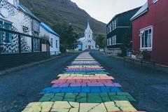 Iceland (bruit_silencieux) Tags: islande iceland fjord mountains scandinavia sony alpha 7 roadtrip road city seyðisfjörður lgbt rainbow flag
