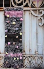 pannello melange con ponpon (stranelane1) Tags: panel pennello tricot maglia knitted ponpon wool melange lana knitting knit