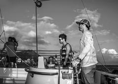 Manu Kai Sunset Cruise from Waikiki Beach (Oliver Leveritt) Tags: nikond7100 afsdxvrnikkor18200mmf3556gifed oliverleverittphotography hawaii oahu waikiki waikikibeach manukai catamaran cruise captain captainbobby monochrome blackandwhite boat