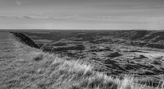 A Buffalo Jump (westrock-bob) Tags: park county red bw white canada black monochrome grass canon river island photography eos photo jump buffalo ancient image native pics plateau picture dry ab pic deer virgin photograph alberta firstnations badlands bison allrightsreserved provincial reddeerriver 6d cree kanata topography dryislandbuffalojump albertatourism canon6d kneehill tourismalberta westrockbob dryislandbuffalojumpprovincialpark canoneos6d bobcuthillphotographygmailcom bobcuthill kneeholecounty