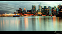 Vancouver at dusk, BC, Canada (Ann Badjura Photography) Tags: city canada building vancouver reflections landscape evening scenery view dusk britishcolumbia seawall burrardinlet stanleypark westcoast canadaplace hdr nightfall vancity harbourcentre downtownvancouver stanleyparkseawall miss604 insidevancouver vancitybuzz photonewsgallery annbadjura