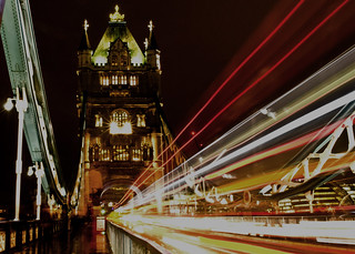 Tower Bridge with light trails - In Explore #33 on 27/11/14