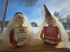 Better than an elf on a shelf (yooperann) Tags: blue winter sky sunshine vintage dolls michigan ky crafts spice upper ap page ann cans peninsula ivany