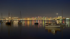 San Diego after Dark (illuminaut) Tags: ocean california city longexposure sea reflection night boats lights harbor neon cityscape nightscape sandiego yacht socal bluehour yachts southerncalifornia fishingboats