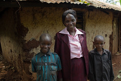 Ian with Lilian and Paul (helpageusa) Tags: africa female landscape happy eyecontact aids hiv kenya ken widow hivaids casestudy 3people centralprovince 2013 58yearsold thika philmoore educationtraining