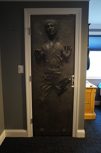 Elegant CLOSE UP Of Door  This Is A Solid Core Smooth Panel Door With A 3D  Wallpaper Print (Hans Solo Frozen In Carbonite) We Used A Skateboard Wheel  As The Door ...