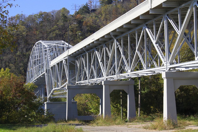 Cordell Hull Bridge (2014 reopened) East low view - Carthage, TN