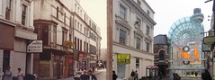 Cases Street from Ranelagh Street (Central Station), Liverpool 1. 1985 and 2014. (philipgmayer) Tags: camera liverpool zenit 1985 demolished 1000 listed zenith claytonsquare ranelaghstreet casesstreet williamculshaw