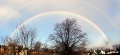 Looking for gold..!   (Explore #263) (Mike-Lee) Tags: sky autostitch sunshine rain garden rainbow colours stitch sheffield explore explore263 dec2014