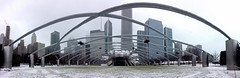 Downtown Chicago Millennium Park Panorama (IMG_7168.JPG) (Jessica_Dyer) Tags: winter snow chicago grass weather mobile skyline architecture downtown bean snowing millenniumpark greatlawn pw iphone fallingsnow jaypritzkerpavilion mobilephotography iphoneography mobiography