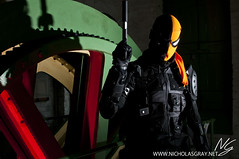 Deathstroke (Nicholas Gray) Tags: england detail museum diy dc costume high geek cosplay character north east professional geeks batman cosplayer build northern invasion geeky woodhorn ashington assassin deathstroke costumer
