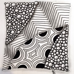 """#zentangle 2015-16, day one of """"A Zentangle A Day."""" I did this one last night, but couldn't photograph it until daylight. (kurki15) Tags: square squareformat zia zentangle ozad zendoodle iphoneography instagramapp uploaded:by=instagram zentangleinspiredart 2015zentangleaday 2015zenjan"""