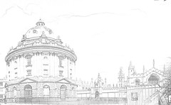 Radcliffe Camera Lined (trial) (Reckless Times) Tags: camera white black art mono line oxford buy radcliffecamera sell radcliffe
