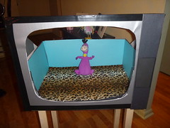 Turq background and leopard fleece floor (DianaDesignsNY and the Gs) Tags: costume flinstones